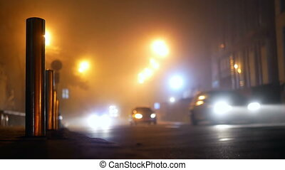 Car road fog traffic - Car driving road fog smoke traffic