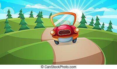 Car, road illustration. Cartoon forest landscape.
