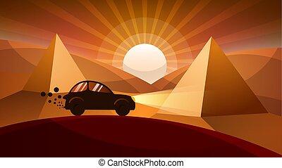 Car, road illustration. Cartoon landscape.