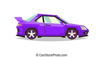Car roadster. Side view. Transport for travel. Gas engine. Alloy wheels. Vector illustration. Flat style