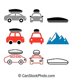 Car roof box, roof rack or carrier vector icons set