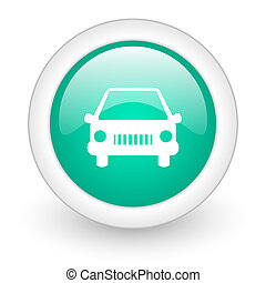 car round glossy web icon on white background