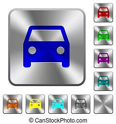 Car rounded square steel buttons
