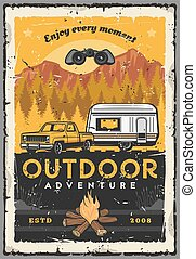 Car, rv and campfire. Outdoor adventure, travel