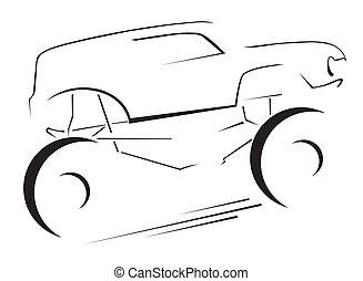 car, símbolo, bigfoot