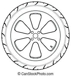 car, símbolo, caminhão, ou, pneu