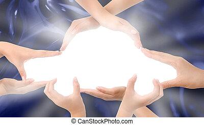 car, símbolo, feito, mãos