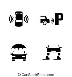 Car safety. Simple Related Vector Icons