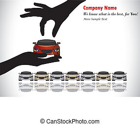 Care Sale or Car Key Concept Illustration : A hand silhouette choosing red colored car offered by the sales rep from a number of cars display for sale