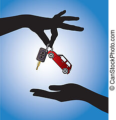 Car Sale - Handing the Car key - Human hands exchanging...