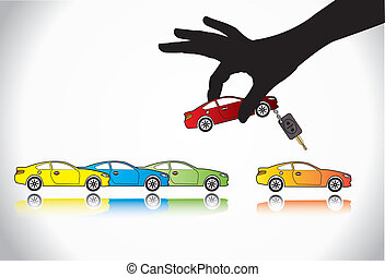 Care Sale or Car Key Concept Illustration : A hand silhouette choosing red colored car with automatic key from a number of colorful cars display for sale