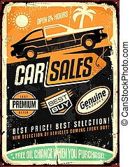 Car sales vintage vector sign design with car side view,...