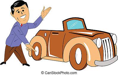 car salesman with classic car - salesman presenting brand...