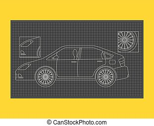 car schematic or car blueprint paper technical drawing
