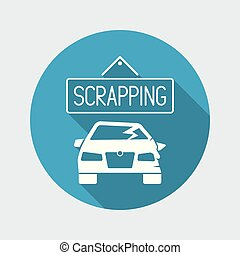 Car scrapping concept icon - Flat and isolated vector...