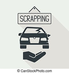 Car scrapping service icon - Flat and isolated vector...