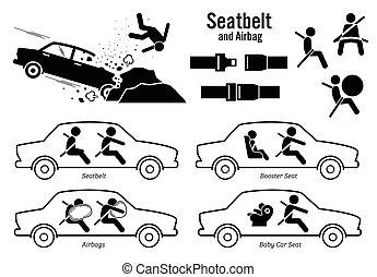 Car Seat Belt and Airbag. - Artworks depict car crash...