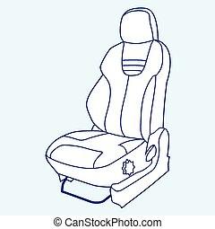 Car Seat - Cartoon blue vector outline illustration car seat