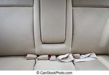 car seat in luxury car with safety belt