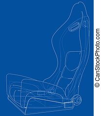 Car seat outlined vector rendering of 3d