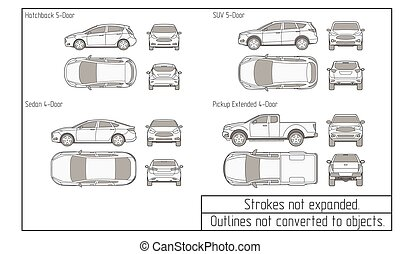 car sedan and suv drawing outlines not converted to objects...
