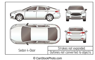Car sedan and suv line draw four all view top side back clip car sedan and suv drawing outlines not converted to objects malvernweather Gallery