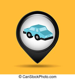 car sedan blue icon design