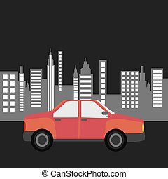 car sedan city background design