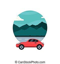 car sedan in road with landscape