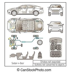 car sedan interior parts engine seats dashboard drawing outlines not converted to objects