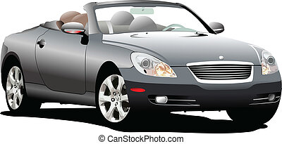 car, sedan, ligado, a, road., vetorial, illus