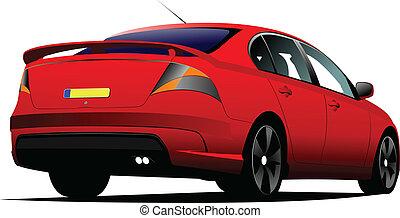 Car sedan on the road. Vector illus