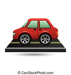 car sedan red on road design