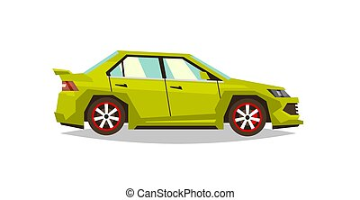 Car sedan. Side view. Transport for travel. Gas engine. Alloy wheels. Vector illustration. Flat style