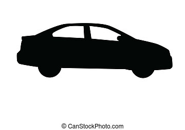 Car sedan silhouette isolated on white background.