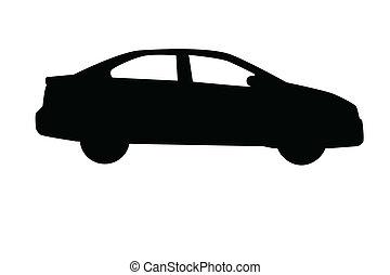Car sedan silhouette isolated on white background.