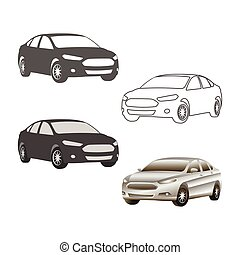 car sedan vehicle silhouette icons colored and outline set