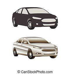 car sedan vehicle silhouette icons colored and realistic set