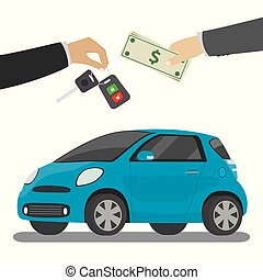 Car seller hand giving key to buyer