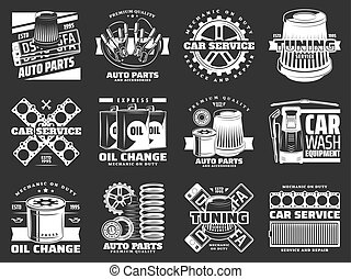 Car service and auto parts monochrome icons vector - Car...