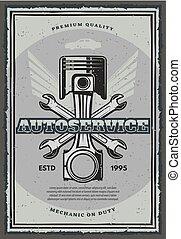 Car service and auto repair garage retro poster