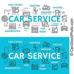 Car service and auto repair vector line icons