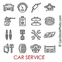 Car service and auto repair vector thin line icons