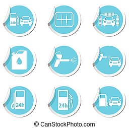 Car service and gas station icons