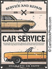 Car service and maintenance, retro poster