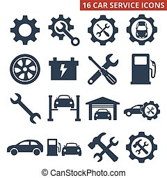Car service and repair icons set on white background.