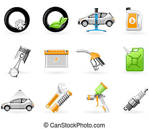 Car service and Repairing icon set - Car service, spare...