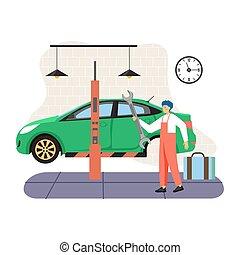 Car service and tire maintenance, change, auto repair shop, ...