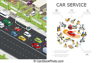 Car Service And Traffic Jam Composition