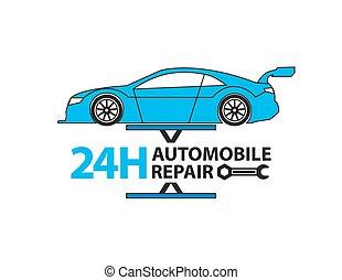 Car service, Auto mechanic working in garage, Repair service